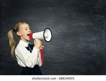 Child Girl Megaphone Announcement, School Kid Announce Scream Speaker over Blackboard