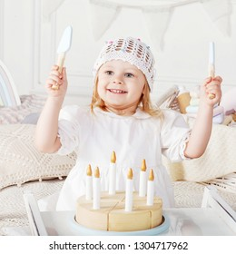 Child Girl Playing With A Wooden Toy Cake Little Cute Natural Toys