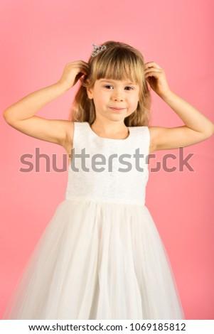 c9ec5bfdec07 Child girl in stylish glamour dress, elegance. Fashion and beauty, little  princess. Fashion model on pink background, beauty. Little girl in  fashionable ...