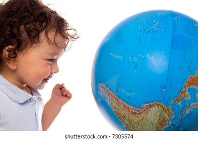 Child with globe,isolated on a white.
