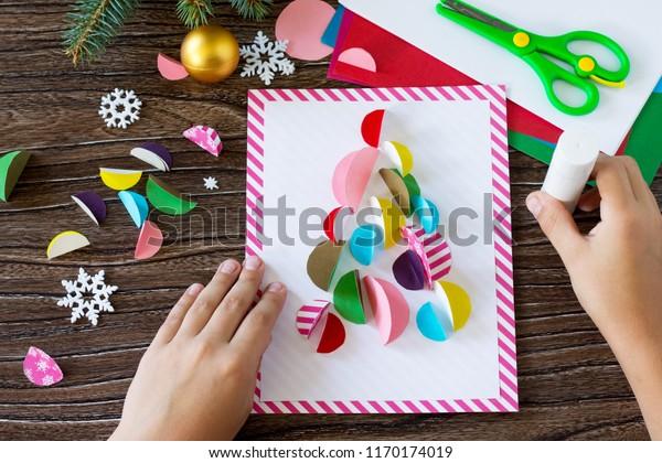 Child Glues Parts Christmas Tree Greeting Stock Photo Edit