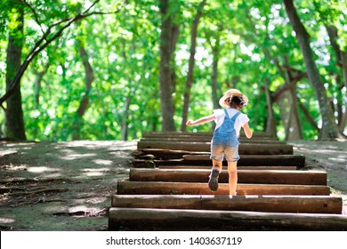 Child going up the stairs in the forest