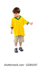 Child with a green yellow T-shirt .