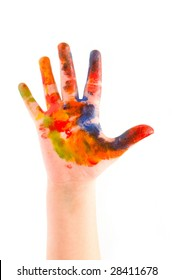 Child hand painted in colorful paints