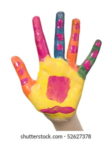 Child hand is painted with various colors