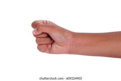 child hand sign isolated on white background
