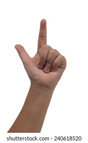 child hand with thumb up isolated on white background