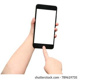 Child hands closeup touches the smart phone