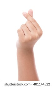 Child hands making a heart shape with two fingers on a white isolated background,korean style