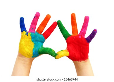Child hands painted in colorful paints ready for hand prints