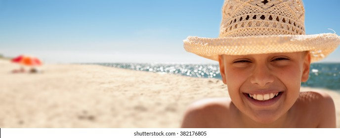 child happy panoramic beach background summer vacations backlight closeup