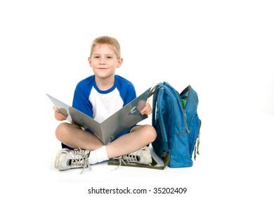 A child has an open folder.