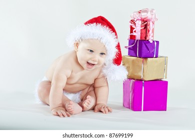 child in a hat of Santa Claus