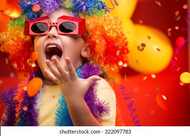 Child having fun at Carnival in Brazil