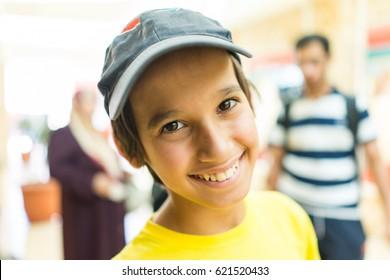 Child having good time walking outdoors