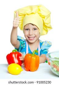 The child help prepare the cook