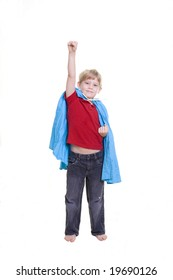 A child with his arm in the air