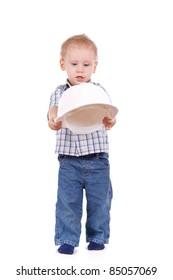 Child hold white helmet over white background