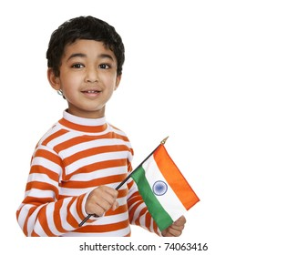 Child Holding a Flag of India, Isolated, White