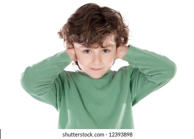 Child holding his hands against his ears a over white background