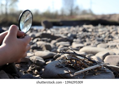 A child holding a magnifying glass, burning a sliver of sunlight, make a fire.