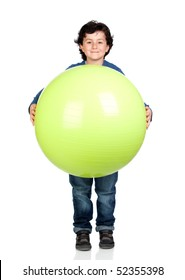 Child holding a pilates ball isolated on a over white background