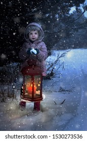 Child holds christmas lamp with glass and candle inside in the night to pine tree. Snowing around the lamp. Snowflakes flying in the night.
