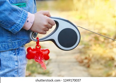 The child holds in hand a lead with container with bags for cleaning after pet