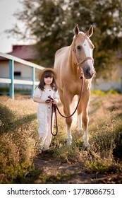 a child and a horse wal