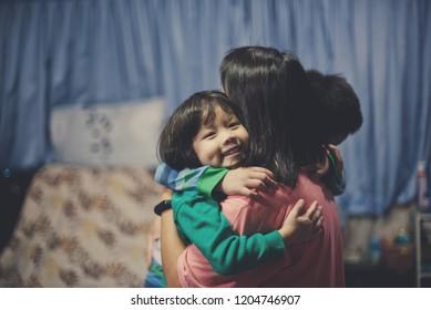 child hug mother, family, love together