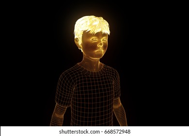 Child Human Wireframe Hologram in Motion. Nice 3D Rendering