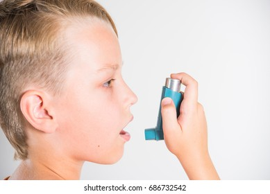 A child with an inhaler, an asthma attack, a treatment, an allergy