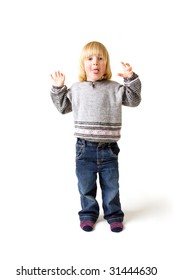 Child isolated on white with funny expression