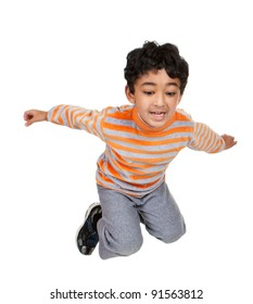 Child Jumping in the Air, Isolated, White