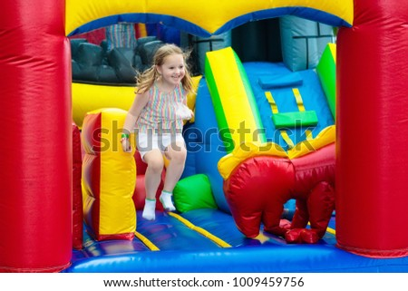 4a26f75bb Child Jumping On Colorful Playground Trampoline Stock Photo (Edit ...