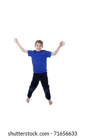 A child jumps, isolated on white