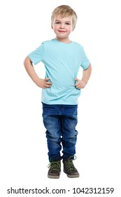 Child kid little boy blond hair full body portrait isolated on a white background