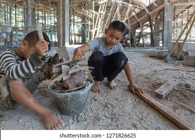 Child labor, children are forced to work construction, Violence children and trafficking concept, Anti-child labor, Rights Day on December 10