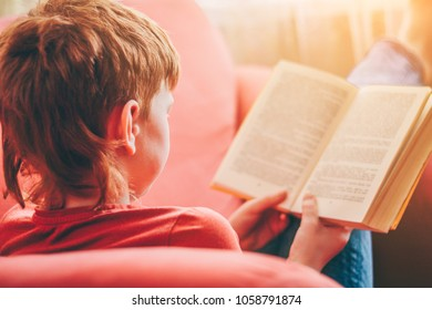 A child learns with a book in his hands sitting in a chair