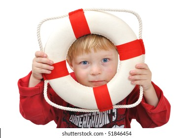 Child with life ring for swim