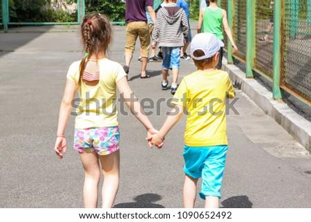 Child Little Boy Girl Back Go Stock Photo Edit Now 1090652492