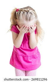 child little girl cover her face with hands isolated on white background