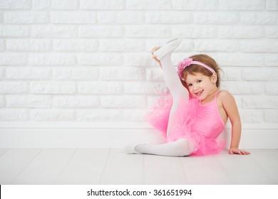 child little girl dancer ballet ballerina stretching