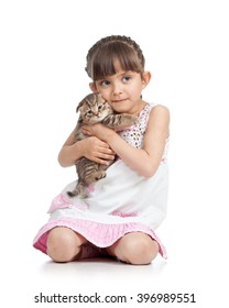 Child little girl hugging kitten. isolated on white background