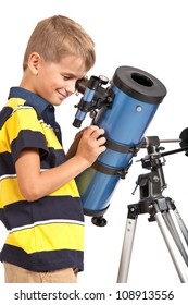 Child Looking Into Telescope Star Gazing Little Boy isolated on a white background
