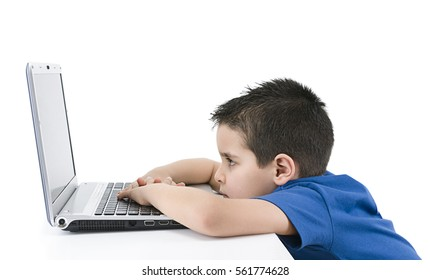 Child Looks at Laptop Isolated