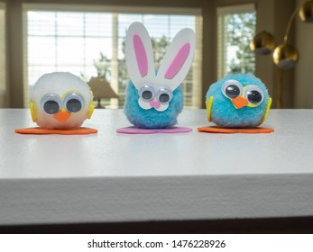 Child made decorations at home before Easter.