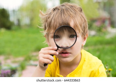 the child with a magnifying glass outdoors in summer day