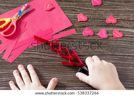 Child Makes Crafts Out Paper Garland Stock Photo Edit Now