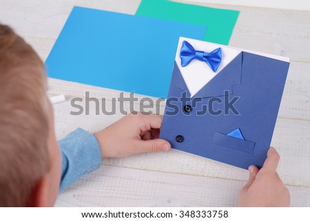 Child Making Greeting Card For Father Handmade Dad Happy Birthday Fathers Day